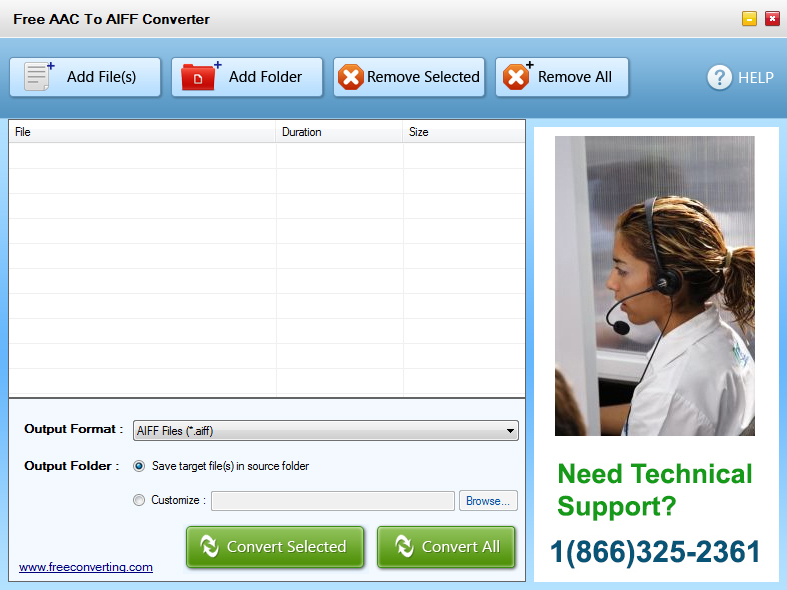 Click to view Free AAC to AIFF Converter screenshots