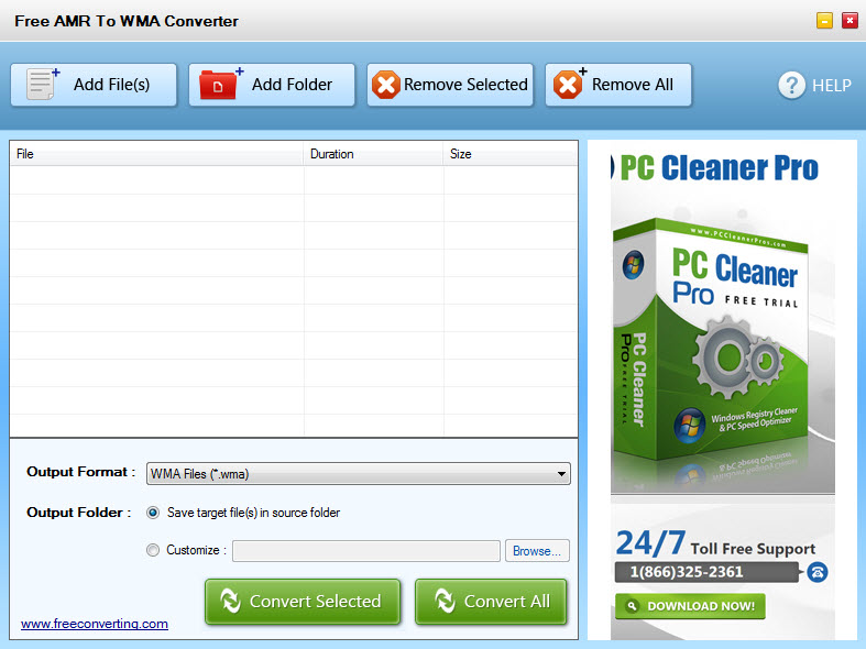 Click to view Free AMR to WMA Converter screenshots