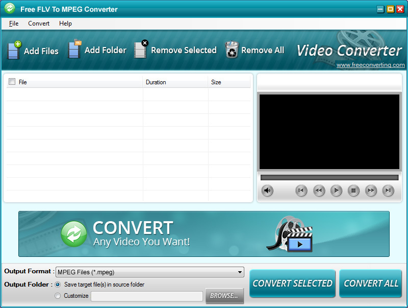 Click to view Free FLV to MPEG Converter screenshots