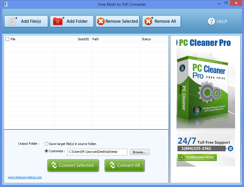 Click to view Free Mobi to PDF Converter screenshots