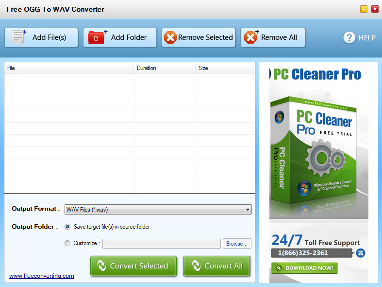 Click to view Free OGG to WAV Converter screenshots