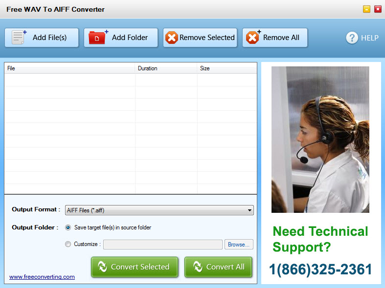 Click to view Free WAV to AIFF Converter screenshots